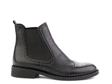 Black Leather Chelsea Boots With Black Elasticated Side Details, Pattern Details And Black Rubber Sole. Isolated Close-up On White Background. Right Side View. Fashion Shoes.