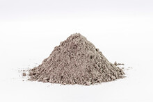 Cement Dust Pile On Isolated White Background, Construction Material.