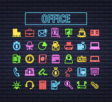 Office Neon Icon. Web Icon Set. Office, Great Design For Any Purposes. Vector Stock Illustration.