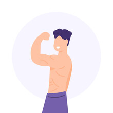 The Concept Of A Bodybuilder, Sports Athlete, Superhuman, Muscular Man. Illustration Of Man Showing Muscles, Hands, Triceps, Biceps And Body. Model. Flat Cartoon Style. Vector Design