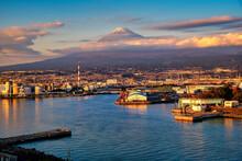 Mt. Fuji With Japan Industry Zone At Sunset Shizuoka Prefecture, Japan.
