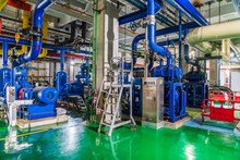 Giant Pipes, Tubes And Equipment Inside Modern Industrial Power Plant
