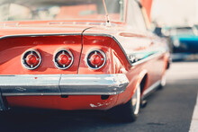 Classic Car Show, Close-up On Vehicle Taillights, Vintage Color