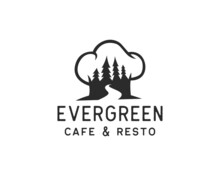 Nature Restaurant Logo. Pine Tree Or Forest Inside Chef Hat Logo Design Template Concept