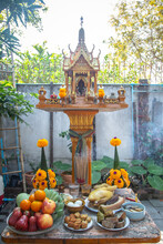 A Brown Shrine Of The Household God In House Area.Thai Architecture, Thai Culture. R