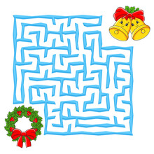 Square Maze. Christmas Game For Kids. Winter Puzzle For Children. Labyrinth Conundrum. Color Vector Illustration. Find The Right Path. Education Worksheet.