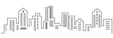City Silhouette, Line Art, Vector Icon