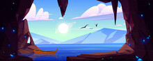 Cave In Rock With Blue Crystals And View To Lake And Mountains On Horizon. Vector Cartoon Landscape Of Stone Cavern Entrance, Sea, Wooden Boat, Flying Birds, Sun And Clouds In Sky