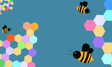 Illustration Cartoon Bee And Honeycomb For Background Template.
