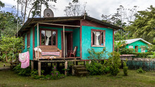 Traditional House On Stilts On The Caribbean Coast Of Costa Rica