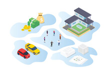 Inheritance Concept With People Family And Some Wealth Asset With Modern Isometric Style