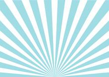 Sun Ray Retro Background Vector Burst Light. Sunrise Or Sunset Retro Sign. Blue Color Burst Background. Flat Style.