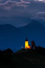 Scenic Church Of St Primoz In Jamnik Slovenia Illuminated At Sunrise
