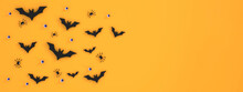 Banner Halloween Festival Background On Orange Background Bats, Eyeballs, Spiders, Ghost