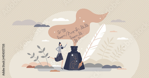 Poetry and literature story writing with ink and feather tiny person concept. Author creative handwriting process scene as classic arts and culture vector illustration. Novel manuscript or calligraphy