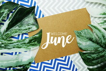 Welcome June Typography Text On Paper Card With Alarm Clock And Monstera Leave