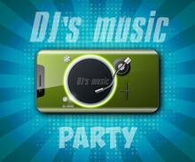 Party Headphones DJ's Music Background. Greeting Card Headphone DJ Player. Headphone Party Flyer. Headset DJ Equipment Date Banner. Celebrate Earphones Dancing Disco Brochure Flyer
