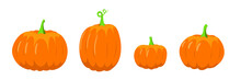 Autumn Pumpkins For Halloween. Orange Pumpkin For Fall Mood. White Isolated Vector Stock Illustration EPS 10.