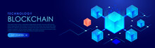 Technology Blockchain Isometric Digital Blocks Banner Vector