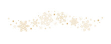 Snowflakes And Stars Border Isolated On White Background