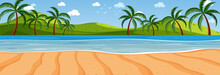Panorama Landscape Scene With Many Palm Trees At The Beach