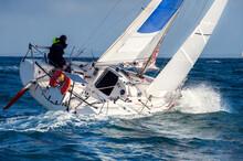 Skipper Sailing On Yacht  Regatta