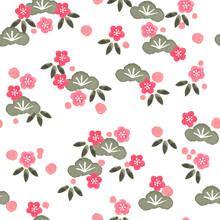 松竹梅のシームレスなパターン。テキスタイル、壁紙、包装紙のデザイン。