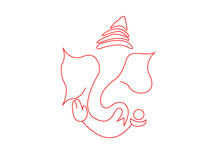 Ganapati In Red Line Art Graphics   Ganesh In Red Line Art