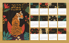 2022 Year Calendar Concept With  Hand Drawn Illustrations Of Tiger And Jungle Leaves.