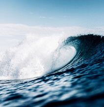 Wave Breaking On The Sea Surface, Tube, Aggressive, Blue