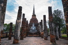 Pagoda At The Historical Park In Sukhothai In North Thailand