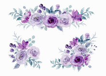 Purple Rose Flower Arrangement Collection With Watercolor