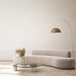 Leinwandbild Motiv Mock up wall in modern home interior background, living room, luxury style, 3D render, 3D illustration
