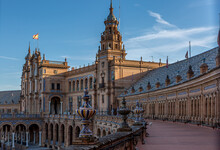 The Beautiful Plaza De Espana (translates To Spanish Square) In Seville, With The Ornately Decorated Archways
