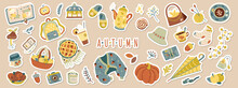 Set Of Cute Vector Autumn Stickers For Daily Planner.Cozy Home.Collection Of Scrapbooking Elements:pumpkin,sweater,candle,falling Leaves,mushroom.Concept For Seasonal Poster,card.Doodle Icons Pack