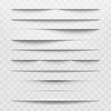 Isolated Shadow Dividers On Transparent Background. Horizontal Shadows Discarded By Paper Sheet Vector Illustration