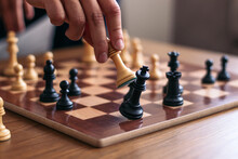 Crop Player Winning At Chess In House