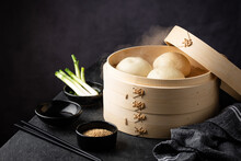 Chinese Steamed Buns Baozi With Steamer