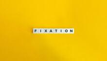 Fixation Banner. Block Letters On Bright Orange Background. Minimal Aesthetics.