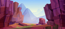 Vector Mountain Landscape With Canyon