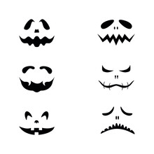 Set Of Scary Pumpkin Or Ghost Faces For Halloween. Isolated. Vector Icon.