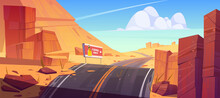 Road And Billboard In Desert With Red Rocks