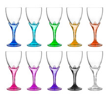 Group Of Vintage Wine Glass On White Background