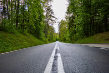 Masurian Forest Road In The Light Of The Summer Sun