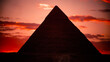 sunset on the three pyramids of egypt