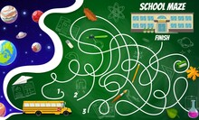 Labyrinth Maze Space Planets And Stars, School Building, Bus, Stationery And Science Formulas. Kids Board Game, Vector Riddle With Tangled Path, Start, Finish, Cartoon And Sketch Learing Items