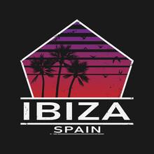 Ibiza Espana - Ibiza Spain Text, Beach Concept Vector Icon, Emblem Design.