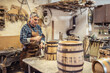 Home workshop of a craftsman who builds wooden barrels for whisky or wine with his own hands