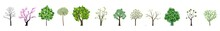 Cartoon Nature Landscape Elements Set, Trees, Stones And Grass Clip Art, Isolated On White Background. Vector Trees. Trees And Bushes, Magnolia, Maple, Lilac, Castor, Acacia, Fir, Pine, Chestnut.
