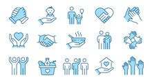 Charity Line Icon Set. Collection Of Community, Trust, Care, Solidarity And More. Editable Stroke.